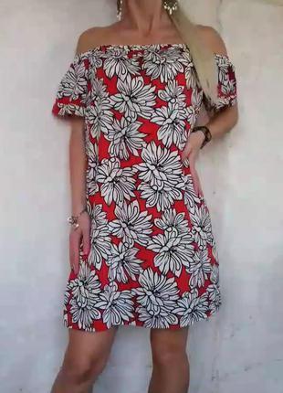 Воздушное платье принт цветы