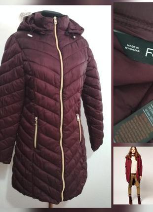 Фирменная длинная теплая лёгкая куртка с капюшоном роскошного ...