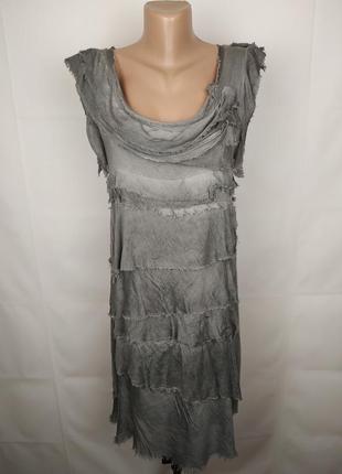Платье стильное итальянское трикотажное шелковое с оборками uk...
