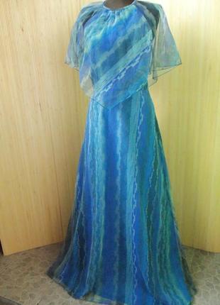 Французское винтажное шёлковое вечернее нарядное длинное платье с