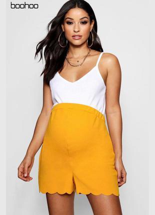 Оранжевые шорты с полукругами снизу для беременных boohoo