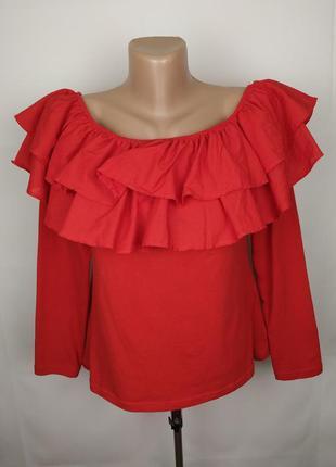 Блуза красная шикарная с оборками h&m uk 14/42/l