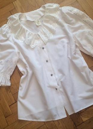 Белая блузка с кружевом,вискоза,германия