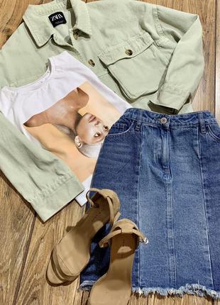 Юбка джинсовая трапецией next