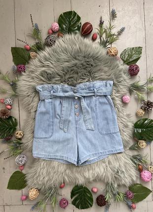Актуальные джинсовые шорты мини c поясом высокая посадка №203
