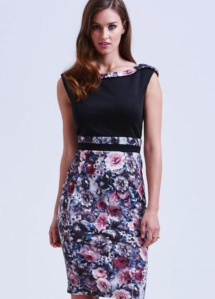 Элегантное черное платье с цветочным принтом paper dolls