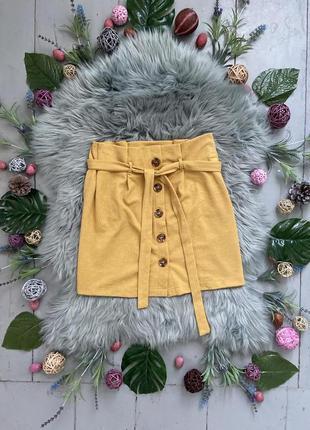 Актуальная желтая мини юбка на пуговицах с поясом №21