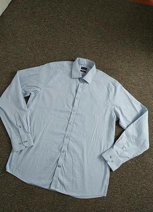 Мужская голубая приталеная рубашка