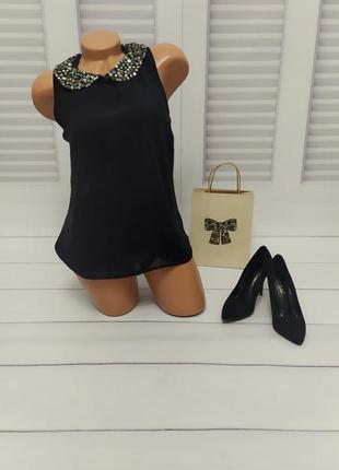 Блуза чёрная с коротким рукавом, s/m
