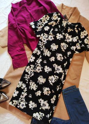 George платье чёрное белое жёлтое в цветочный принт прямое с к...
