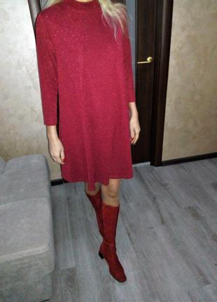 Эффектное бордовое,красное блестящее платье глитер/люрекс