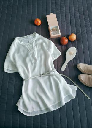 Шёлковая, белоснежная блуза, футболка (70% шёлк)