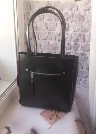 Женская кожаная сумка шоппер шопер шкіряна жіноча сумка