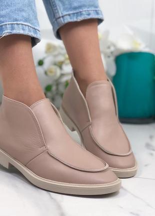 Высокие туфли лоферы из натуральной кожи,пудровые кожаные туфл...