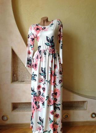 Длинное платье с принтом