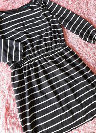 Платье полосатое платье весна лето трапеция рукав 7/8 р.м овер...