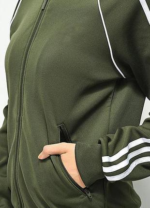 Фирменная спортивная кофта-толстовка цвета хаки с лампасами и ...
