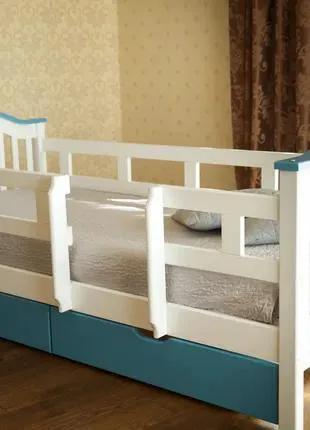Кровать детская с бортиками и ящиками