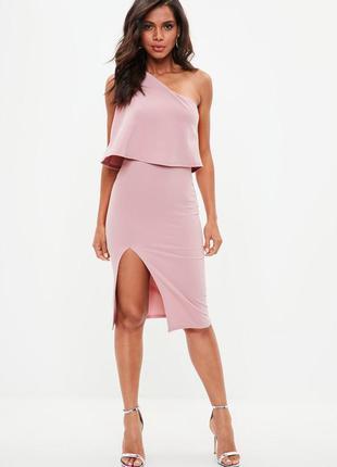 Платье миди пастельно-розового цвета. размер m-l. missguided.