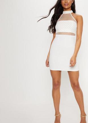 Белое облегающее платье с сетчатым верхом. новое с биркой. раз...
