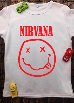 Мужская футболка с принтом - нирвана