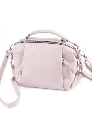 Летняя маленькая сумка через плечо розовая пудровая из натурал...