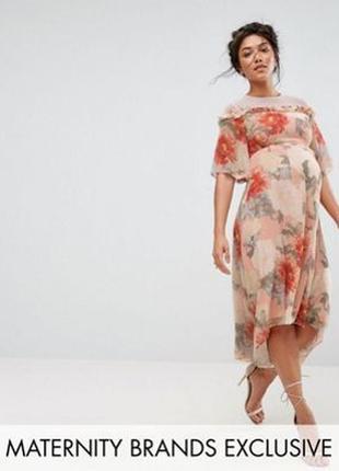 Шифоновое платье в цветы не только для беременных р.xs s