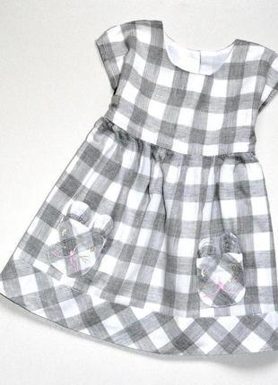 Matalan. милашное платье в клетку с мордочками на кармашках. 6...