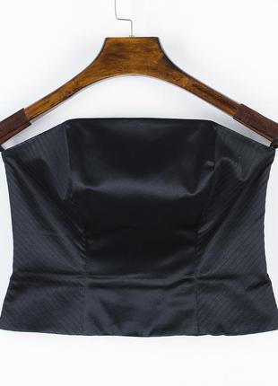 Черный корсет классический, атласный корсет, корсет под пиджак...
