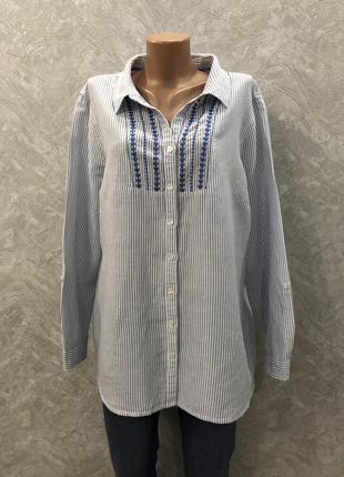 Блузка рубашка в полоску с вышивкой лён котон