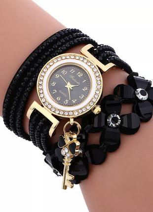 Часы, часики, часы со стразами, женские, длинным ремешком черный