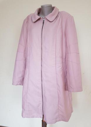 Красивое пудровое пальто размер 56 - 58