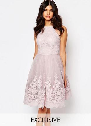 Шикарное нарядное платье с вышивкой chi chi london
