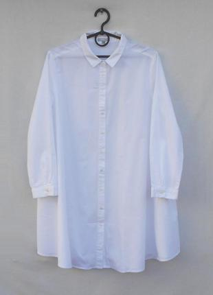 Белая свободная хлопковая удлиненная рубашка туника оверсайз