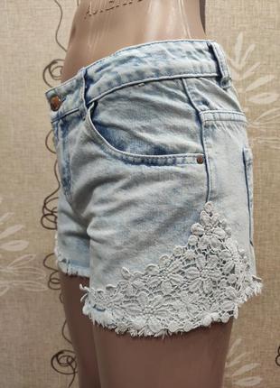 Denim co короткие джинсовые шорты варенки с кружевами