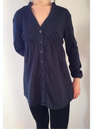 Рубашка-туника, темно синяя блуза.