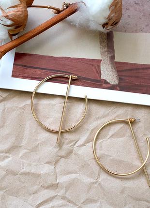 Геометрические серьги круглые кольца золотые золотистые в пода...