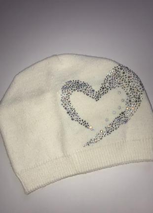 Шапочка для девочки «сердце»