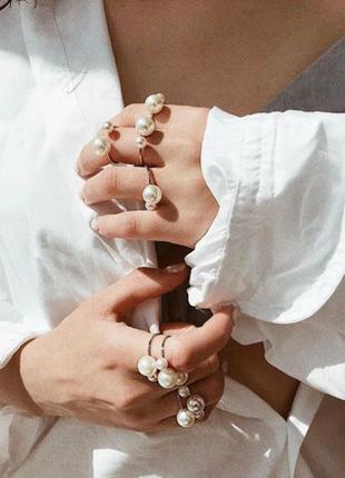 Кольцо с жемчугом безразмерное серебряное серебристое золотое ...