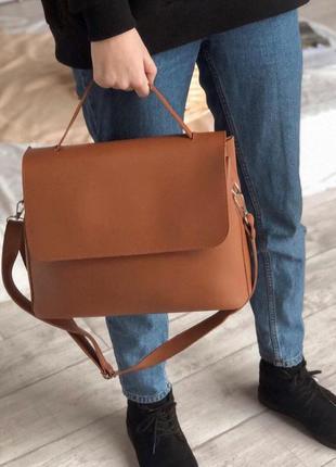 Рыжая сумка шоппер с нахлестом