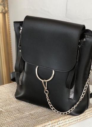 Черная сумка рюкзак с кольцами