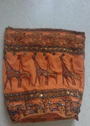 Сумка рюкзак хлопковый с жирафами