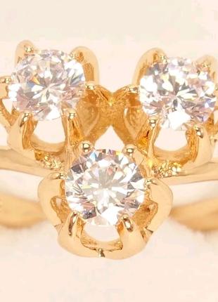 Позолоченное кольцо р. 17 медзолото
