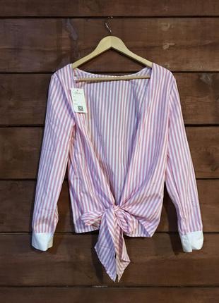 Рубашка в полоску розовая