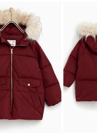 Тепла пухова курточка для дівчинки від zara іспанія