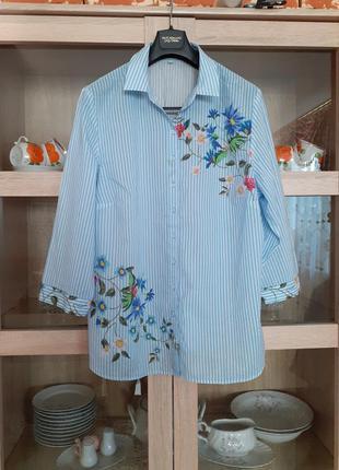 Котоновая полосатая в цветы рубашка большого размера