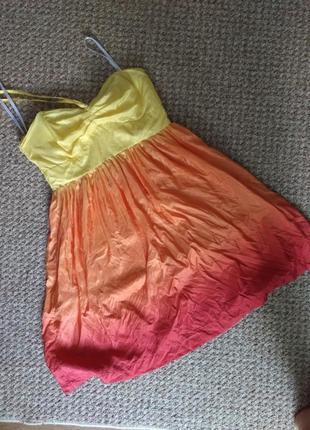 Яркое летнее легкое платье сарафан шелк lipsy c-m размер