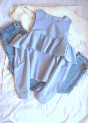 Базовая блуза с воланом в тонкую полоску atmosphere #розвантаж...