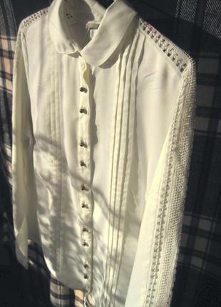 Элегантная блузка-рубашка с кружевными вставками tu #розвантаж...