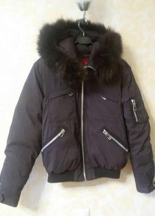 Модный обьемный пуховик куртка snowimage. натуральный мех!